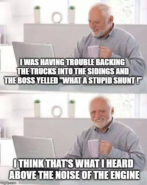 "Hide the Pain Harold Meme | I WAS HAVING TROUBLE BACKING THE TRUCKS INTO THE SIDINGS AND THE BOSS YELLED ""WHAT A STUPID SHUNT !"" I THINK THAT'S WHAT I HEARD ABOVE THE N 