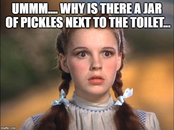 UMMM.... WHY IS THERE A JAR OF PICKLES NEXT TO THE TOILET... | made w/ Imgflip meme maker