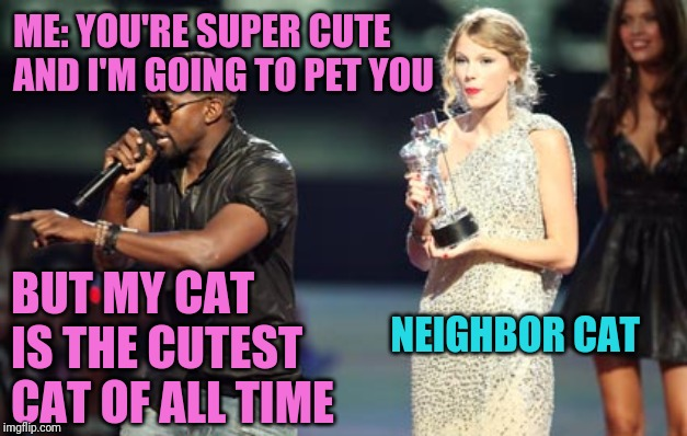 Of all time |  ME: YOU'RE SUPER CUTE AND I'M GOING TO PET YOU; BUT MY CAT IS THE CUTEST CAT OF ALL TIME; NEIGHBOR CAT | image tagged in memes,interupting kanye | made w/ Imgflip meme maker