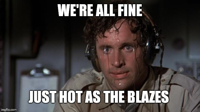 pilot sweating | WE'RE ALL FINE JUST HOT AS THE BLAZES | image tagged in pilot sweating | made w/ Imgflip meme maker