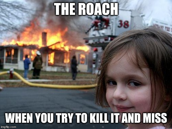 Disaster Girl Meme |  THE ROACH; WHEN YOU TRY TO KILL IT AND MISS | image tagged in memes,disaster girl | made w/ Imgflip meme maker