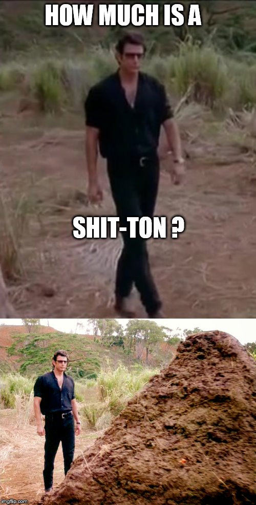 HOW MUCH IS A SHIT-TON ? | image tagged in shit,ton,geff,goldbloom,park,dinosaur | made w/ Imgflip meme maker