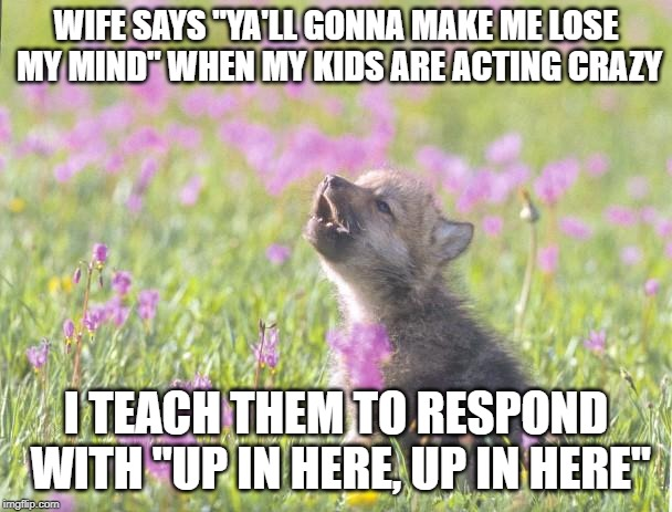 "Baby Insanity Wolf Meme | WIFE SAYS ""YA'LL GONNA MAKE ME LOSE MY MIND"" WHEN MY KIDS ARE ACTING CRAZY I TEACH THEM TO RESPOND WITH ""UP IN HERE, UP IN HERE"" 