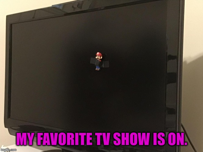 MY FAVORITE TV SHOW IS ON. | image tagged in mario,tv show,tv | made w/ Imgflip meme maker