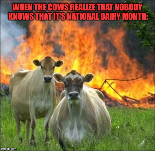 Evil Cows | WHEN THE COWS REALIZE THAT NOBODY KNOWS THAT IT'S NATIONAL DAIRY MONTH: | image tagged in memes,evil cows,memes | made w/ Imgflip meme maker