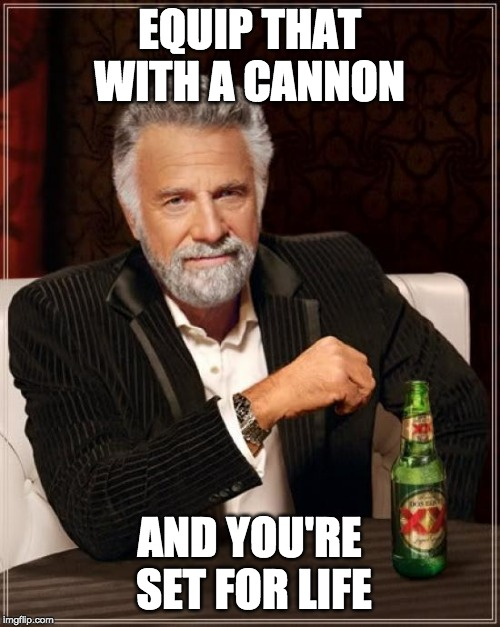 The Most Interesting Man In The World Meme | EQUIP THAT WITH A CANNON AND YOU'RE SET FOR LIFE | image tagged in memes,the most interesting man in the world | made w/ Imgflip meme maker