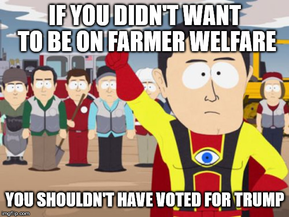 Captain Hindsight Meme | IF YOU DIDN'T WANT TO BE ON FARMER WELFARE YOU SHOULDN'T HAVE VOTED FOR TRUMP | image tagged in memes,captain hindsight,AdviceAnimals | made w/ Imgflip meme maker