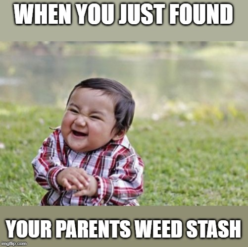 Evil Toddler Meme | WHEN YOU JUST FOUND YOUR PARENTS WEED STASH | image tagged in memes,evil toddler | made w/ Imgflip meme maker
