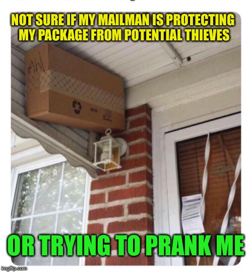Trick or treat? |  NOT SURE IF MY MAILMAN IS PROTECTING MY PACKAGE FROM POTENTIAL THIEVES; OR TRYING TO PRANK ME | image tagged in mailman,genius,package,hiding,not sure if | made w/ Imgflip meme maker