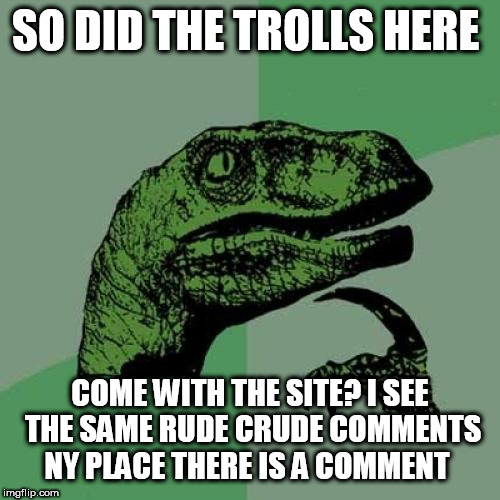 Philosoraptor Meme | SO DID THE TROLLS HERE COME WITH THE SITE? I SEE THE SAME RUDE CRUDE COMMENTS NY PLACE THERE IS A COMMENT | image tagged in memes,philosoraptor | made w/ Imgflip meme maker
