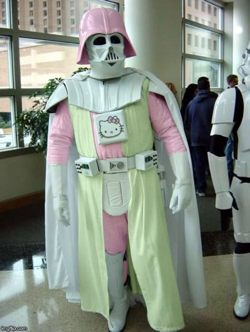 If Darth Vader had another daughter, who turned to the dark side | . | image tagged in pink darth vader,hello kitty | made w/ Imgflip meme maker