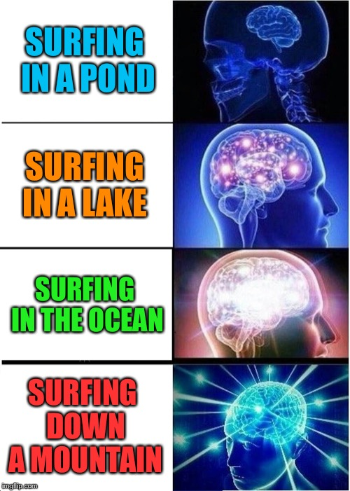 You know what bro??? What bro???  What bro??? Whaaaaaaaaaaaaat????? | SURFING IN A POND SURFING IN A LAKE SURFING IN THE OCEAN SURFING DOWN A MOUNTAIN | image tagged in memes,expanding brain,super smash bros,funny,one does not simply,boardroom meeting suggestion | made w/ Imgflip meme maker