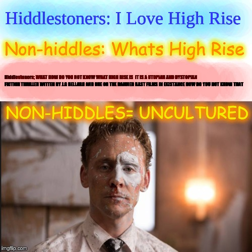 Hiddlestoners | Hiddlestoners: I Love High Rise Non-hiddles: Whats High Rise Hiddlestoners; WHAT HOW DO YOU NOT KNOW WHAT HIGH RISE IS IT IS A UTOPIAN AND  | image tagged in tom hiddleston,high rise,humans are uncultured | made w/ Imgflip meme maker