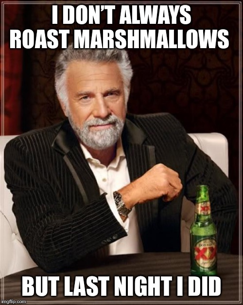 The Most Interesting Man In The World Meme | I DON'T ALWAYS ROAST MARSHMALLOWS BUT LAST NIGHT I DID | image tagged in memes,the most interesting man in the world | made w/ Imgflip meme maker