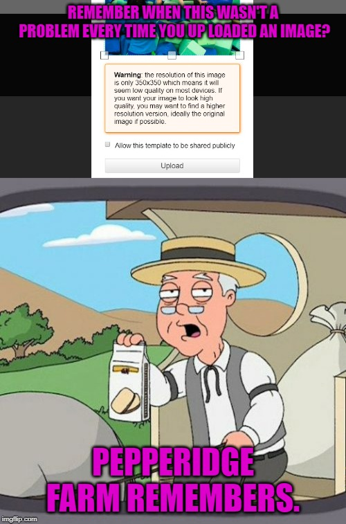 Don't mind me! Just complaining as usual! | REMEMBER WHEN THIS WASN'T A PROBLEM EVERY TIME YOU UP LOADED AN IMAGE? PEPPERIDGE FARM REMEMBERS. | image tagged in memes,pepperidge farm remembers,nixieknox | made w/ Imgflip meme maker