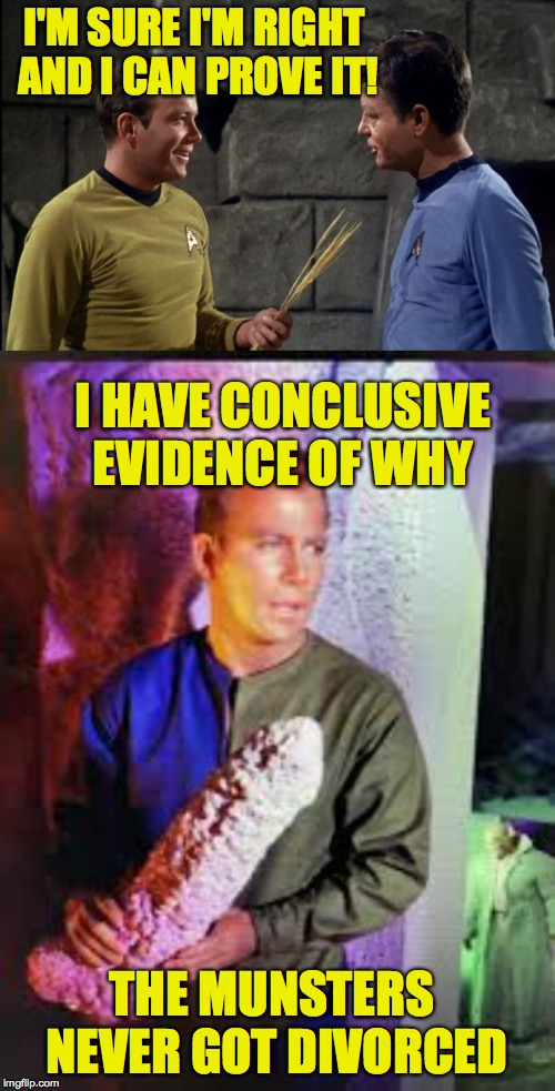 Star Trek: the lost episodes | I'M SURE I'M RIGHT AND I CAN PROVE IT! I HAVE CONCLUSIVE EVIDENCE OF WHY THE MUNSTERS NEVER GOT DIVORCED | image tagged in kirk and mccoy star trek,memes,the munsters,lost episodes | made w/ Imgflip meme maker