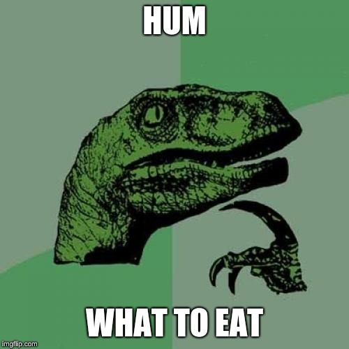 Philosoraptor Meme | HUM WHAT TO EAT | image tagged in memes,philosoraptor | made w/ Imgflip meme maker