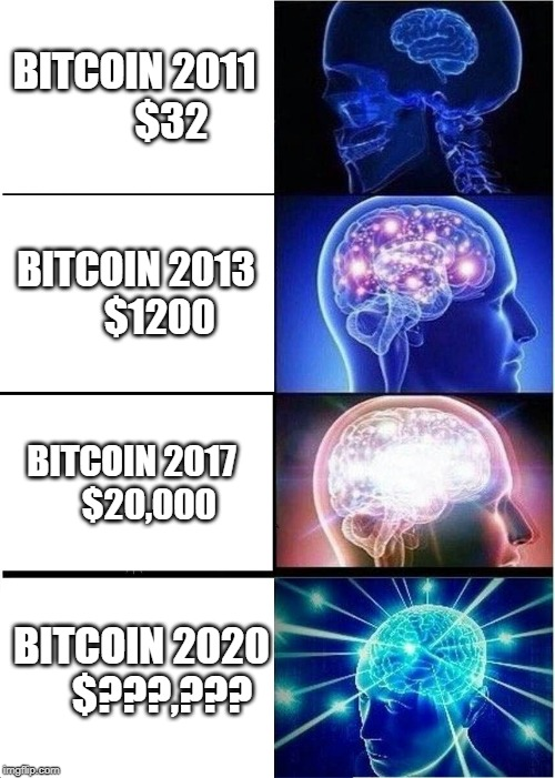 Bitcoin Bull Run IMMINENT!  How High Do You Think It Will Go This Time? | BITCOIN 2011         $32 BITCOIN 2013       $1200 BITCOIN 2017     $20,000 BITCOIN 2020     $???,??? | image tagged in memes,expanding brain,bitcoin,cryptocurrency,money | made w/ Imgflip meme maker