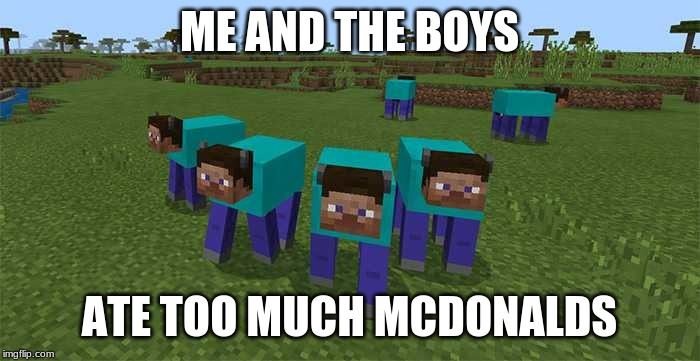 me and the boys | ME AND THE BOYS ATE TOO MUCH MCDONALDS | image tagged in me and the boys | made w/ Imgflip meme maker