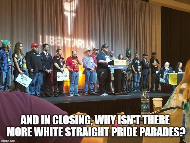 Libertarians | AND IN CLOSING, WHY ISN'T THERE MORE WHITE STRAIGHT PRIDE PARADES? | image tagged in libertarians | made w/ Imgflip meme maker