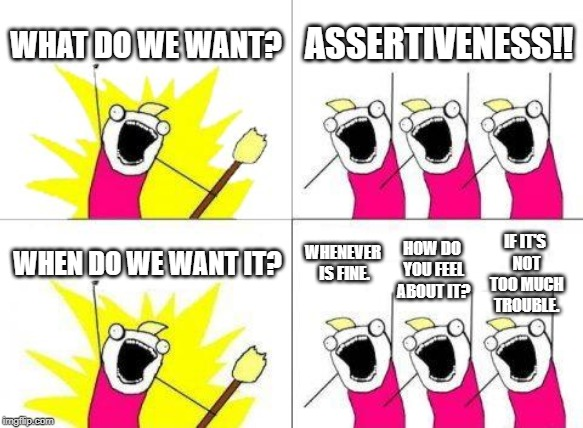 What Do We Want Meme | WHAT DO WE WANT? ASSERTIVENESS!! WHEN DO WE WANT IT? WHENEVER IS FINE. HOW DO YOU FEEL ABOUT IT? IF IT'S NOT TOO MUCH TROUBLE. | image tagged in memes,what do we want | made w/ Imgflip meme maker