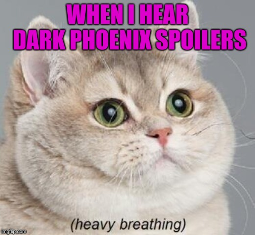 Heavy Breathing Cat | WHEN I HEAR DARK PHOENIX SPOILERS | image tagged in memes,heavy breathing cat | made w/ Imgflip meme maker
