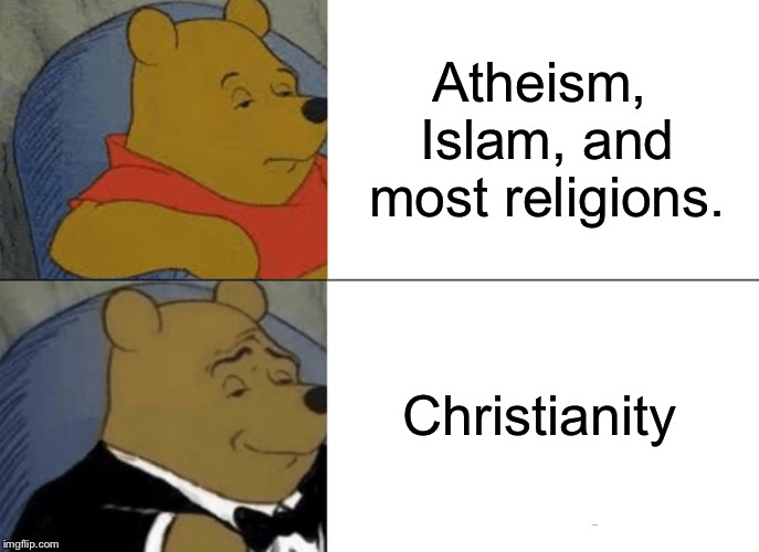 Tuxedo Winnie The Pooh Meme | Atheism, Islam, and most religions. Christianity | image tagged in memes,tuxedo winnie the pooh | made w/ Imgflip meme maker