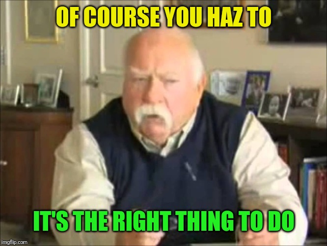 Personal Use Wilford Brimley, to be uploaded to my templates | OF COURSE YOU HAZ TO IT'S THE RIGHT THING TO DO | image tagged in personal use wilford brimley to be uploaded to my templates | made w/ Imgflip meme maker