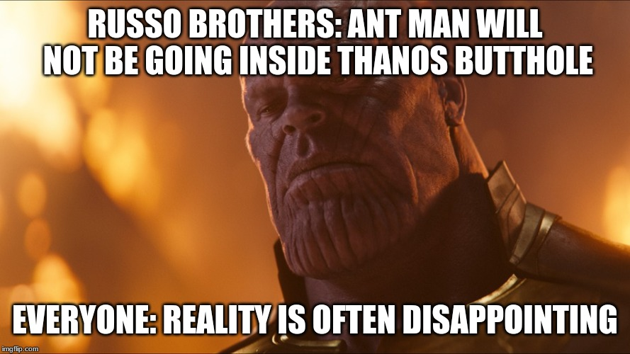 Thanos | RUSSO BROTHERS: ANT MAN WILL NOT BE GOING INSIDE THANOS BUTTHOLE EVERYONE: REALITY IS OFTEN DISAPPOINTING | image tagged in thanos | made w/ Imgflip meme maker