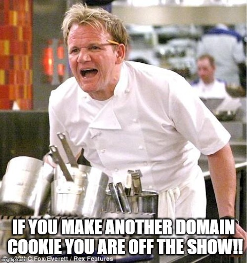 Chef Gordon Ramsay Meme | IF YOU MAKE ANOTHER DOMAIN COOKIE YOU ARE OFF THE SHOW!! | image tagged in memes,chef gordon ramsay | made w/ Imgflip meme maker