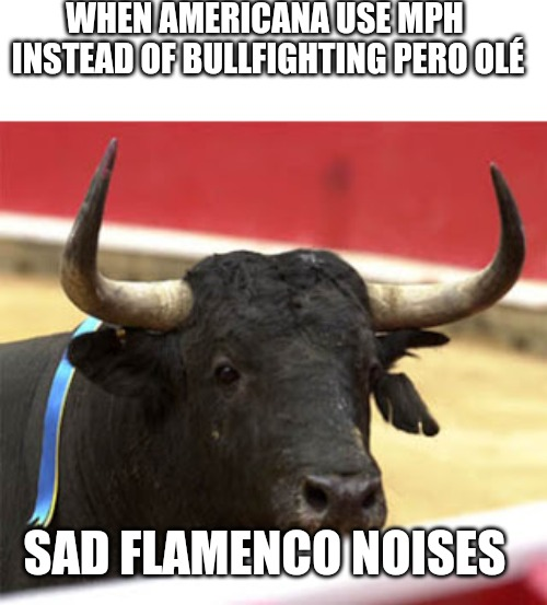 WHEN AMERICANA USE MPH INSTEAD OF BULLFIGHTING PERO OLÉ SAD FLAMENCO NOISES | image tagged in memes | made w/ Imgflip meme maker