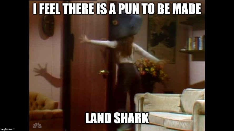 I FEEL THERE IS A PUN TO BE MADE LAND SHARK | image tagged in land shark | made w/ Imgflip meme maker