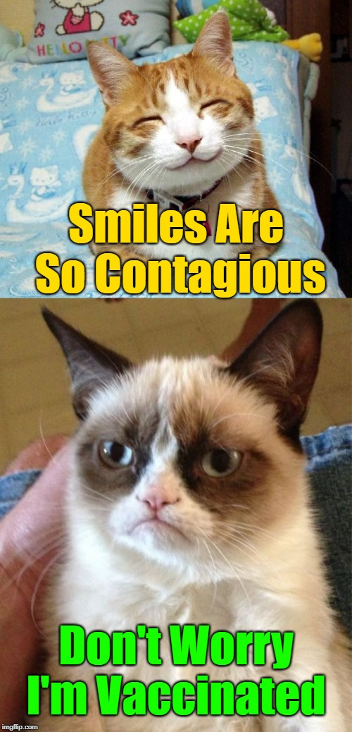 Not going to get contaminated! | Smiles Are So Contagious Don't Worry I'm Vaccinated | image tagged in memes,grumpy cat,cats,smiling cat,meme | made w/ Imgflip meme maker