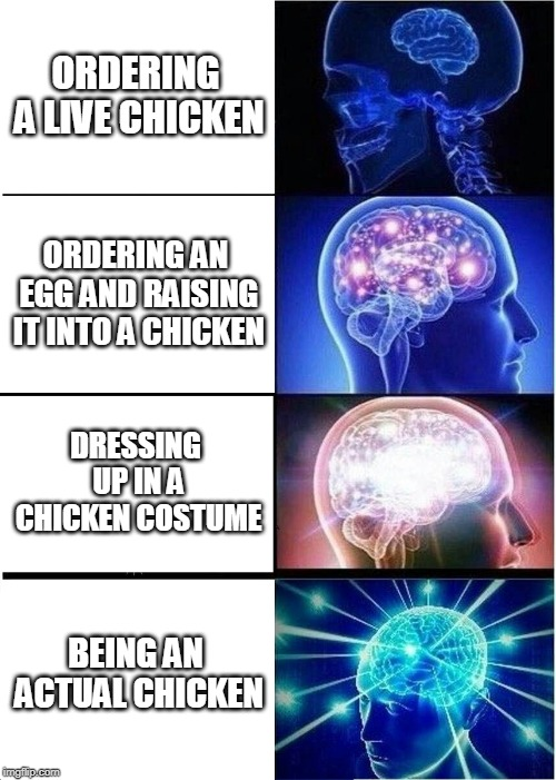 Expanding Brain Meme | ORDERING A LIVE CHICKEN ORDERING AN EGG AND RAISING IT INTO A CHICKEN DRESSING UP IN A CHICKEN COSTUME BEING AN ACTUAL CHICKEN | image tagged in memes,expanding brain | made w/ Imgflip meme maker