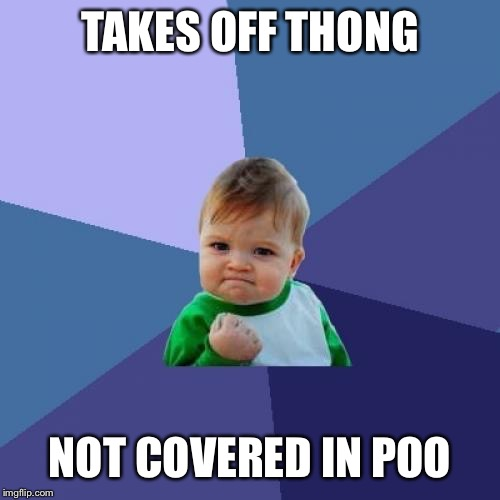 Success Kid Meme | TAKES OFF THONG NOT COVERED IN POO | image tagged in memes,success kid | made w/ Imgflip meme maker