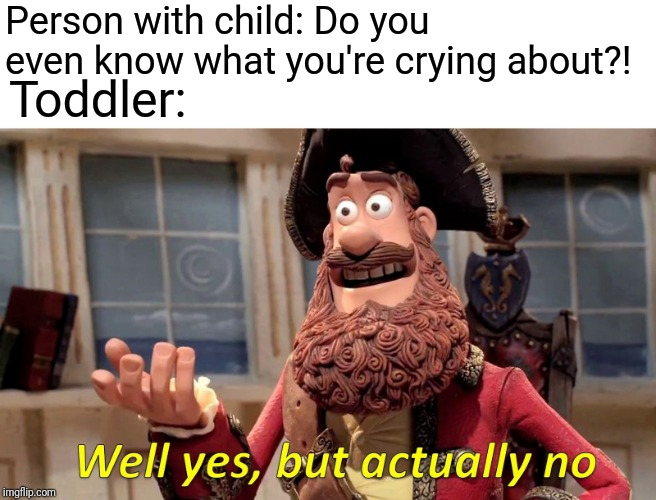 How do you get small children to stop crying? | Person with child: Do you even know what you're crying about?! Toddler: | image tagged in memes,well yes but actually no,toddler,crying,why | made w/ Imgflip meme maker