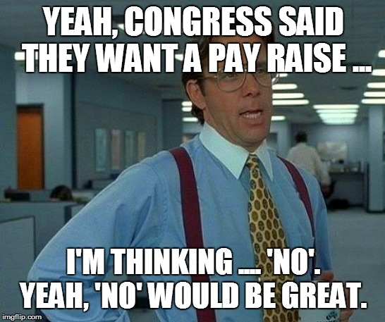 That Would Be Great Meme | YEAH, CONGRESS SAID THEY WANT A PAY RAISE ... I'M THINKING .... 'NO'.  YEAH, 'NO' WOULD BE GREAT. | image tagged in memes,that would be great | made w/ Imgflip meme maker