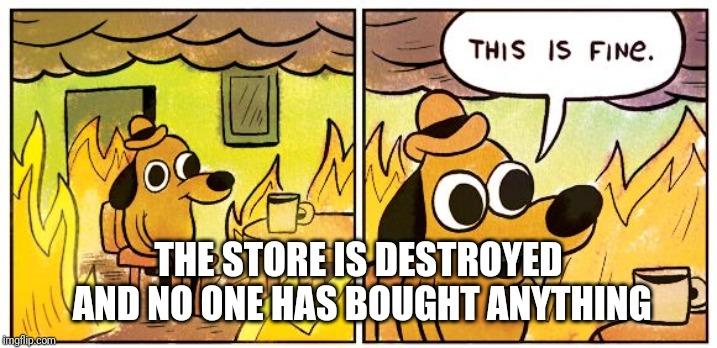 This is fine dog | THE STORE IS DESTROYED  AND NO ONE HAS BOUGHT ANYTHING | image tagged in this is fine dog | made w/ Imgflip meme maker