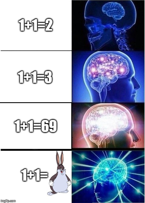 Expanding Brain Meme | 1+1=2 1+1=3 1+1=69 1+1= | image tagged in memes,expanding brain | made w/ Imgflip meme maker