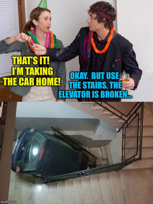 Designated Driver | THAT'S IT!  I'M TAKING THE CAR HOME! OKAY.  BUT USE THE STAIRS, THE ELEVATOR IS BROKEN... | image tagged in literally,driving,down,stairs,women drivers,funny memes | made w/ Imgflip meme maker