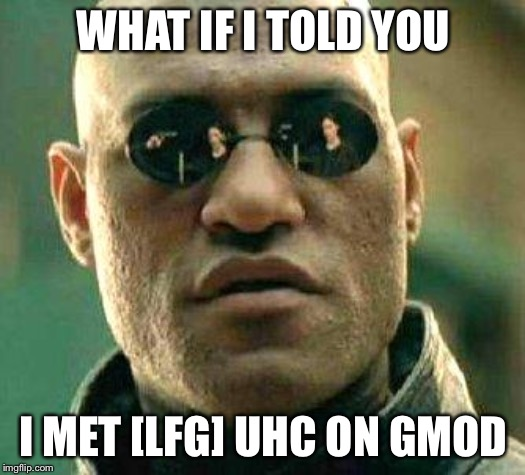 What if i told you | WHAT IF I TOLD YOU I MET [LFG] UHC ON GMOD | image tagged in what if i told you | made w/ Imgflip meme maker