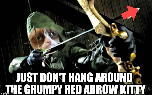 JUST DON'T HANG AROUND THE GRUMPY RED ARROW KITTY | made w/ Imgflip meme maker
