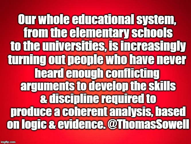 Red Background | Our whole educational system, from the elementary schools to the universities, is increasingly turning out people who have never heard enoug | image tagged in red background | made w/ Imgflip meme maker