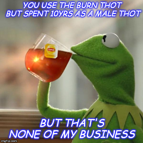 But Thats None Of My Business Meme | YOU USE THE BURN THOT BUT SPENT 10YRS AS A MALE THOT BUT THAT'S NONE OF MY BUSINESS | image tagged in memes,but thats none of my business,kermit the frog | made w/ Imgflip meme maker