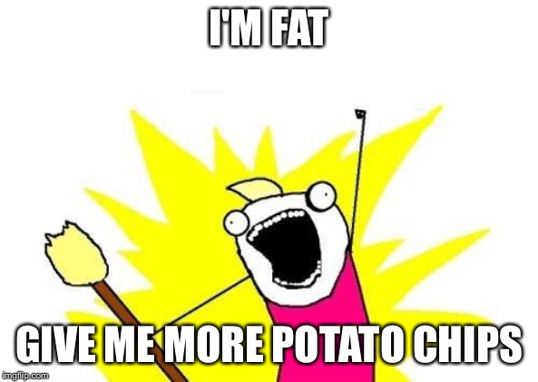 X All The Y Meme | I'M FAT GIVE ME MORE POTATO CHIPS | image tagged in memes,x all the y | made w/ Imgflip meme maker