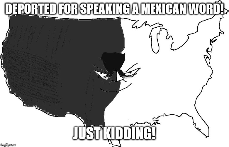 DEPORTED FOR SPEAKING A MEXICAN WORD! JUST KIDDING! | image tagged in ultra serious america impressed | made w/ Imgflip meme maker