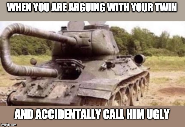 Tank Backfire | WHEN YOU ARE ARGUING WITH YOUR TWIN AND ACCIDENTALLY CALL HIM UGLY | image tagged in tank backfire | made w/ Imgflip meme maker