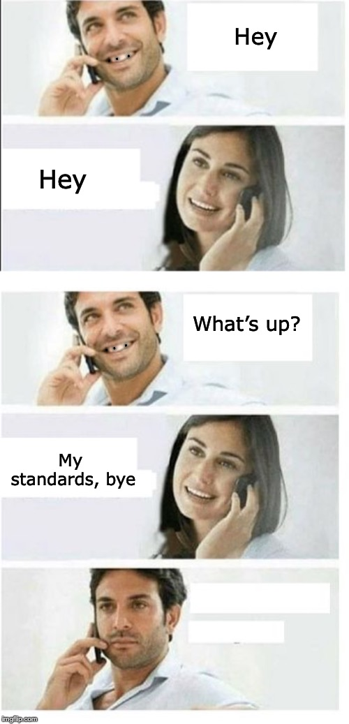 Standard Reply | Hey Hey What's up? My standards, bye . .  . . .  . | image tagged in couple talking,cell phone,dating,dental | made w/ Imgflip meme maker