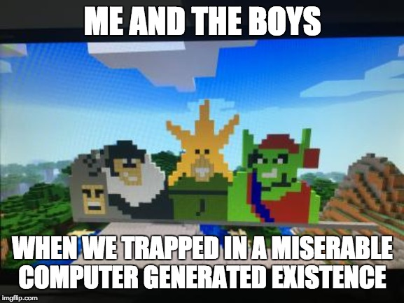 ME AND THE BOYS WHEN WE TRAPPED IN A MISERABLE COMPUTER GENERATED EXISTENCE | image tagged in meme | made w/ Imgflip meme maker