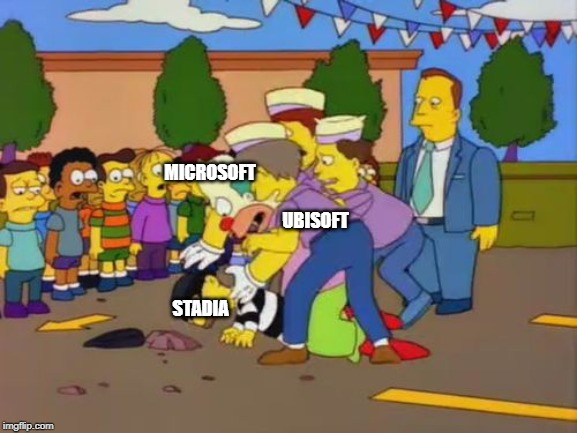 Stop stop simpsons | STADIA MICROSOFT UBISOFT | image tagged in stop stop simpsons | made w/ Imgflip meme maker